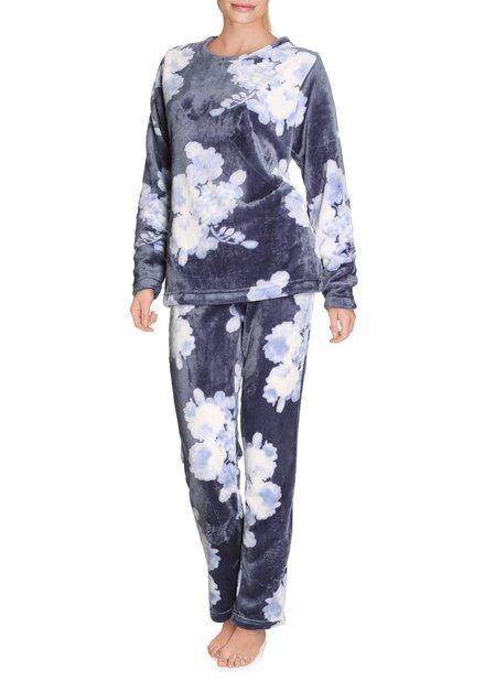 Blauwe pyjama met bloemen