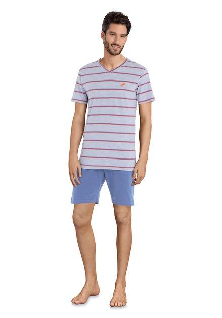 Blauwe pyjama met rode strepen - korte mouwen/bro