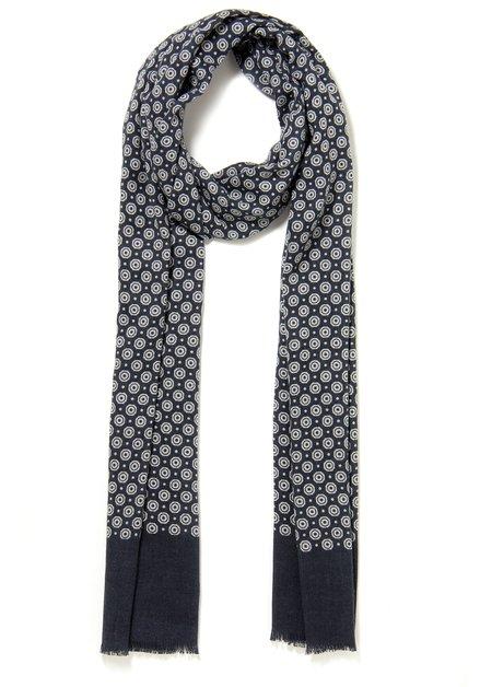Blauwe sjaal met bolletjes