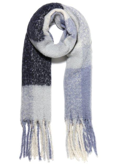 Blauwe sjaal met flou kleurvlakken