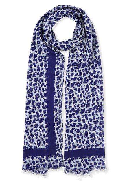 Blauwe sjaal met luipaardprint
