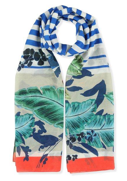 Blauwe sjaal met strepen en bloemen