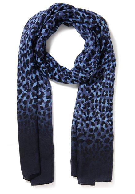 Blauwe sjaal met zwarte panterprint