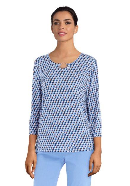 Blauwe T-shirt met gekleurde cirkeltjes