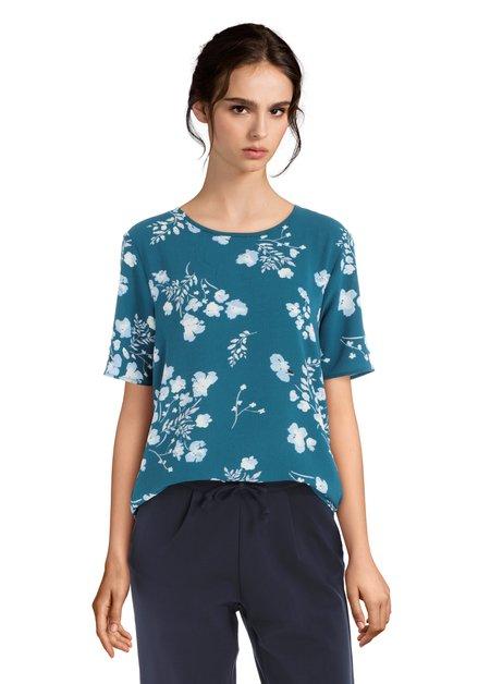 Blauwe top met bloemenmotief