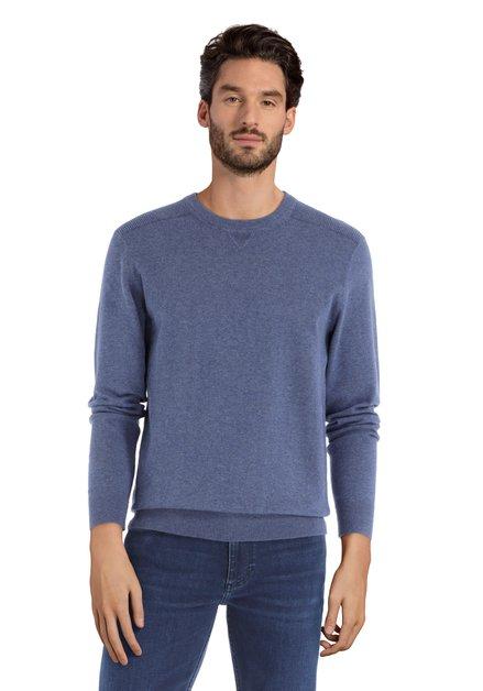 Blauwe trui met ronde geribde hals