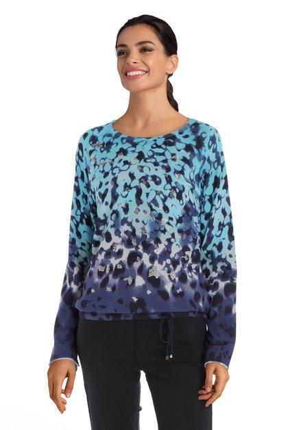 Blauwe trui met zilverkleurig motief