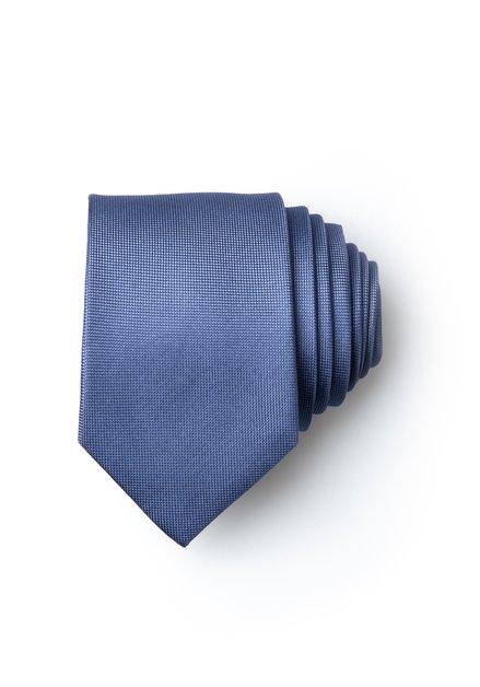 Blauwe zijden das met fijne print