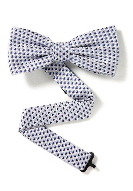 Blauwe zijden strikdas met driehoekjes