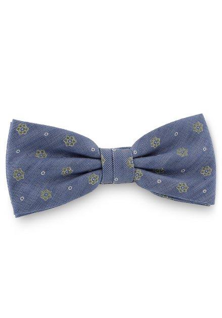 Blauwe zijden strikdas met groene bloemen