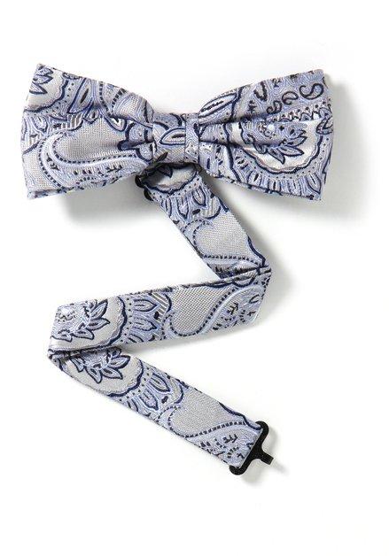Blauwe zijden strikdas met paisleyprint