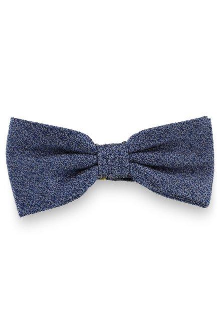 Blauwe zijden strikdas met spikkelmotief