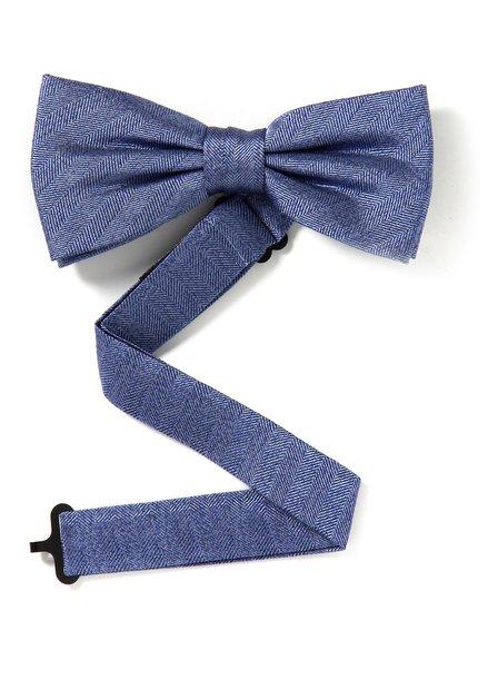 Blauwe zijden strikdas met visgraatmotief