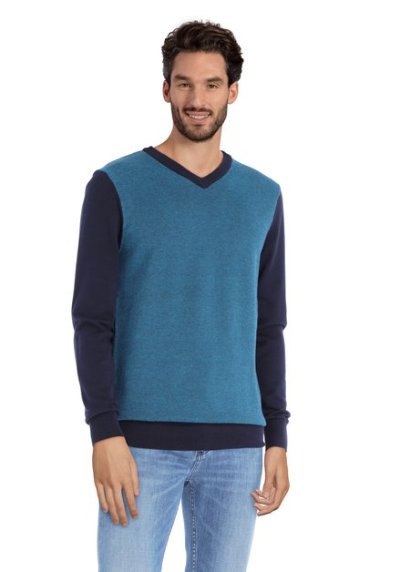 Blauwkleurige trui met V-hals
