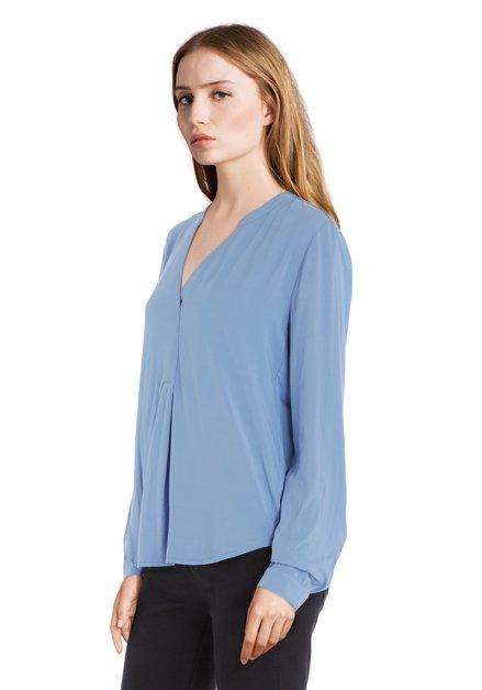 Blouse bleu clair à col V en viscose et jersey
