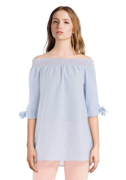 Blouse bleue/blanche à épaules dénudées avec lurex