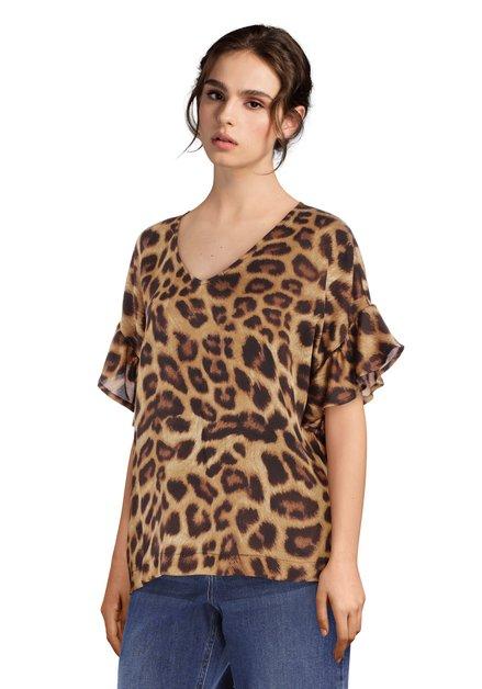 Blouse brune avec imprimé léopard