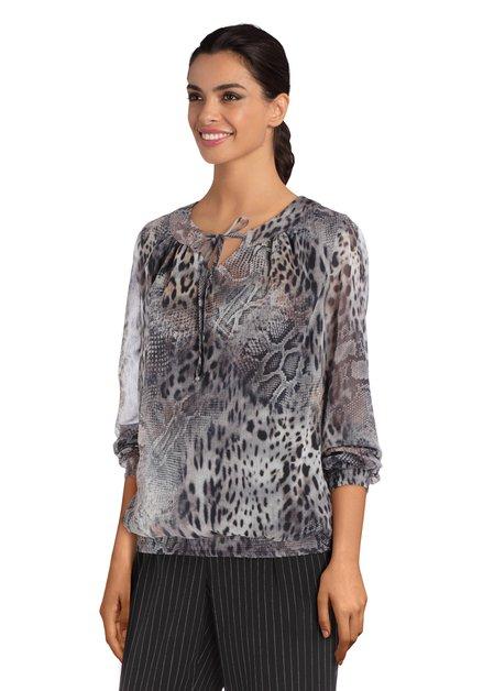Blouse grise avec imprimé léopard