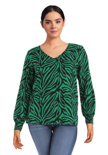 Blouse met zwart-groene zebraprint met V-hals