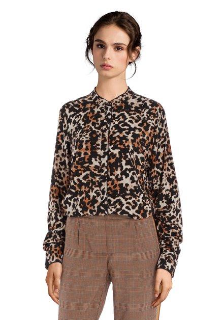 Blouse noire à imprimé léopard et col mao