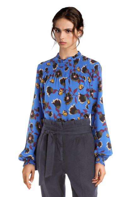 Blouse smock bleue à fleurs