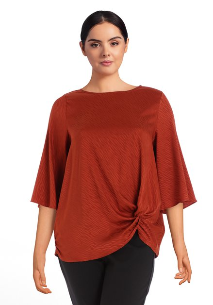 Blouse soyeuse orange rouille
