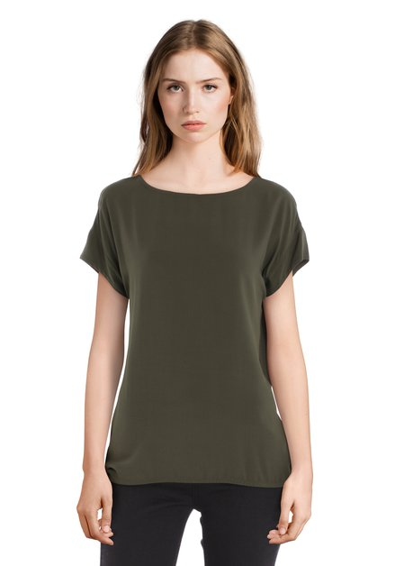 Blouse vert olive à col rond