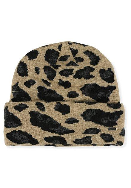 Bonnet brun à motif léopard