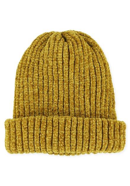 Bonnet jaune moutarde en chenille