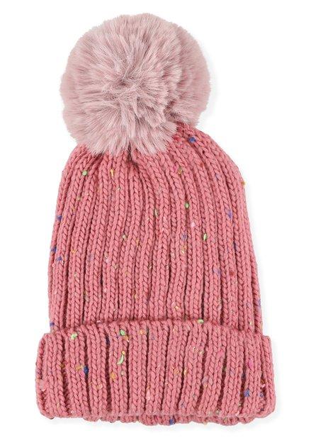 Bonnet rose à tâches colorées et pompon