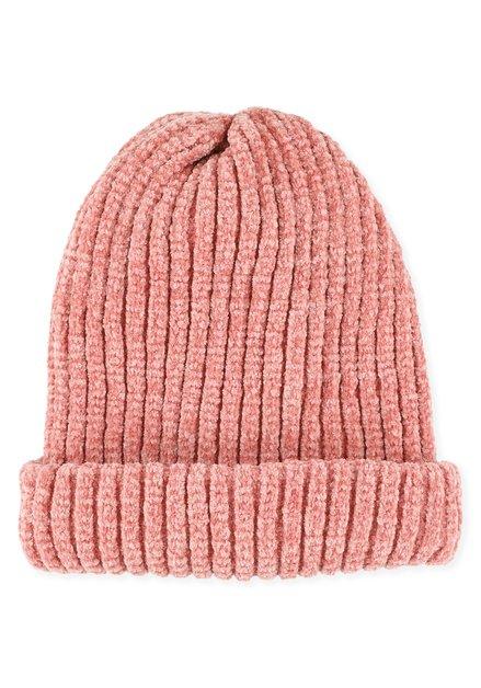 Bonnet roze en chenille