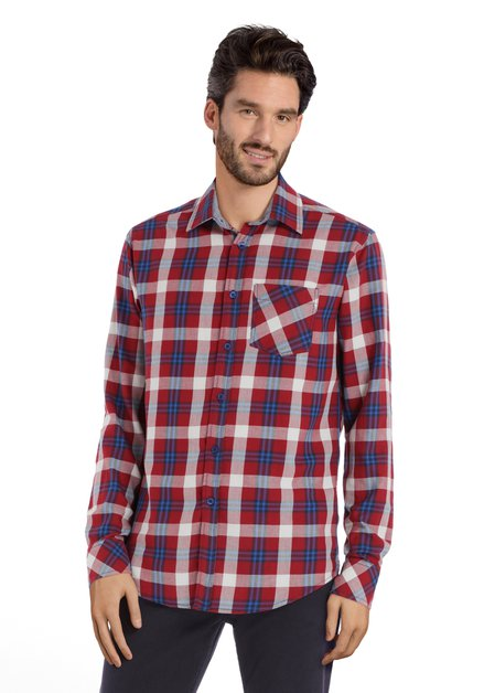 Bordeaux-blauw geruit hemd - regular fit