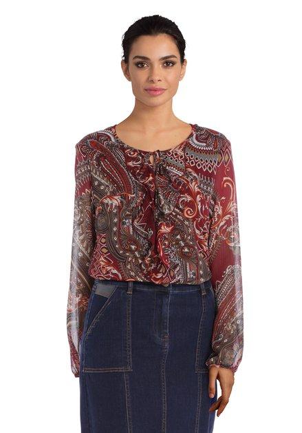 Bordeaux blouse met paisleyprint en gouddraad