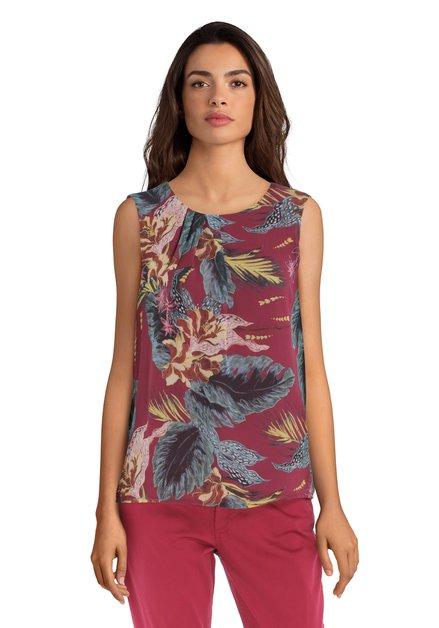 Bordeaux blouse met tropische bladerprint