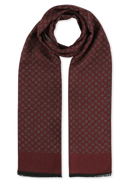 Bordeaux en grijze sjaal met print