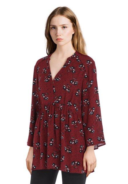 Bordeaux gebloemde blouse met elastische taille