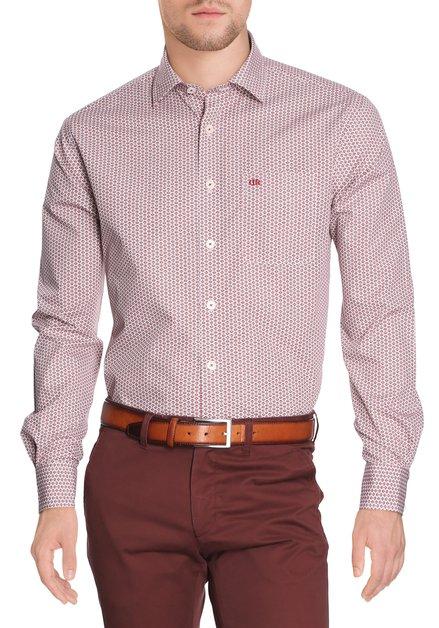 Bordeaux hemd met miniprint - comfort fit