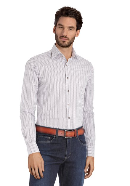 Bordeaux hemd met print – slim fit