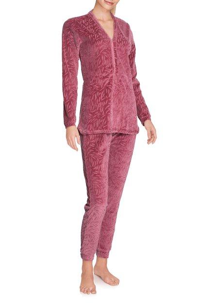 Bordeaux pyjama in structuurstof