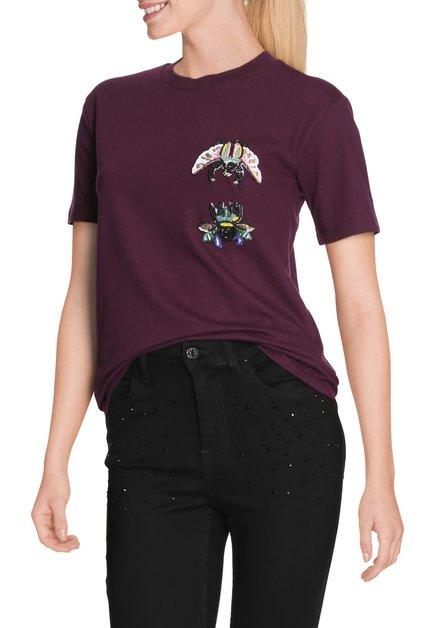 Bordeaux T-shirt met kleurrijke kraaltjes