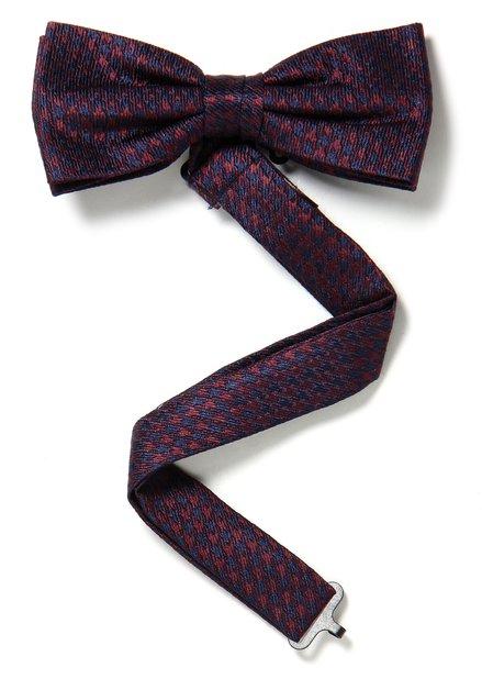 Bordeaux zijden strikdas met fijne print