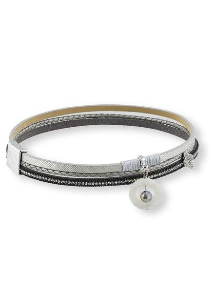 Bracelet à effet cuir argenté
