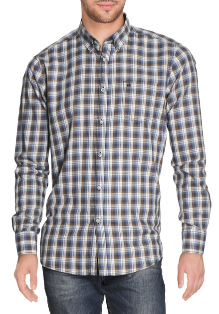 Bruin-blauw geruit hemd - modern fit