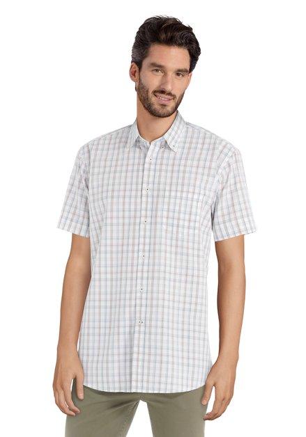 Bruin geruit hemd met korte mouwen – regular fit