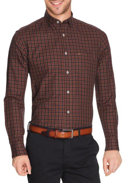 Bruin geruit hemd - slender fit