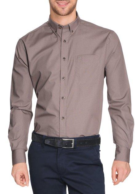 Bruin hemd met fijne miniprint - comfort fit