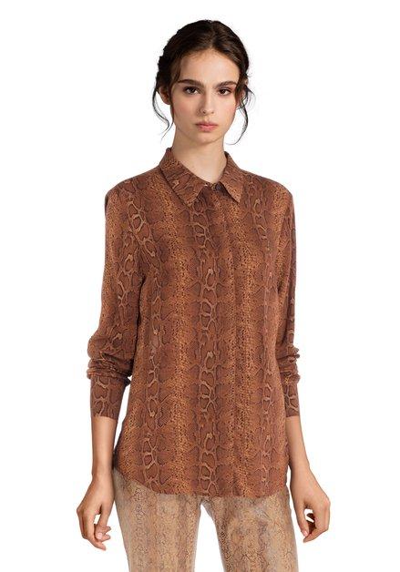 Bruin hemd met slangenprint