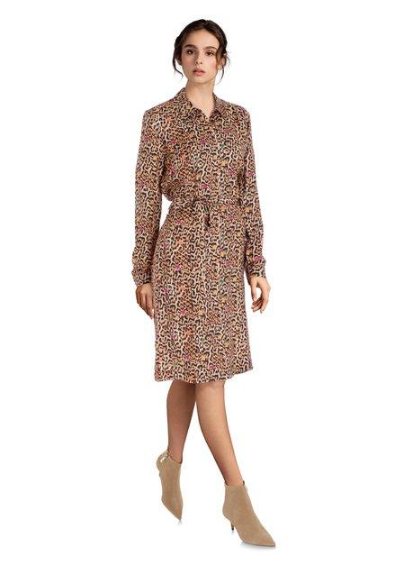 Bruin kleed met panterprint en kleurrijke stippen