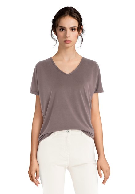 Bruin T-shirt met V-hals