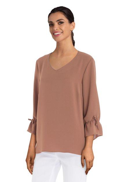Bruine blouse met strikjes aan de mouwen